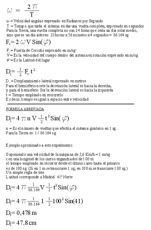 Formulas of the lateral deviation for the Coriolis force